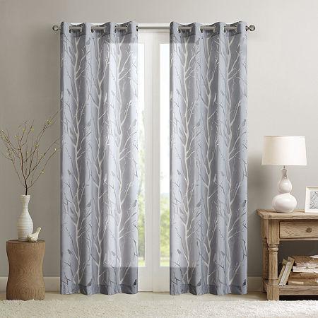 Madison Park Vina Bird Burnout Sheer Grommet-Top Single Curtain Panel, One Size , Gray