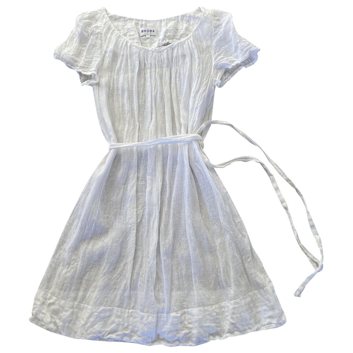 Brora \N Kleid in  Weiss Leinen