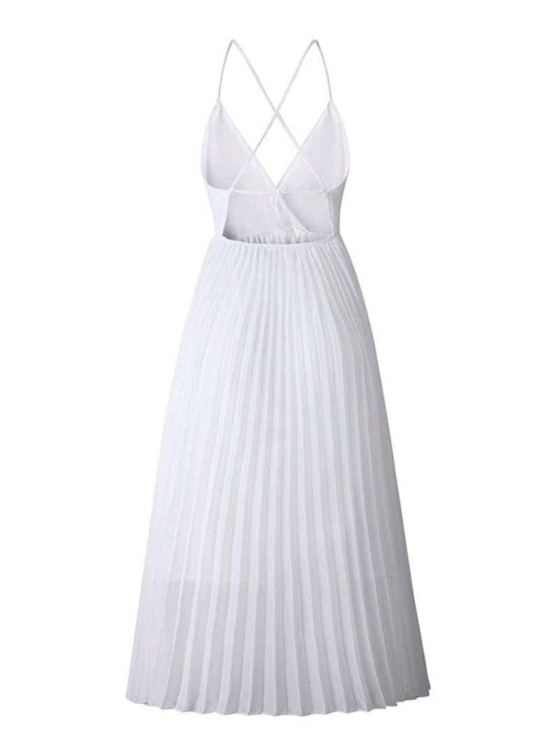 Ericdress Pleated Mid-Calf Sleeveless Sweet A-Line Dress