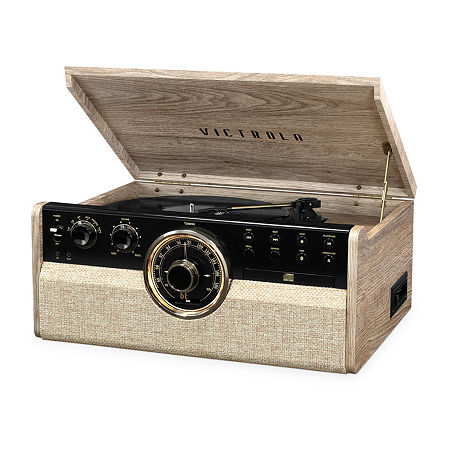 Victrola VTA-270B 6-in-1 Wood Bluetooth Mid-Century Record Player with 3-Speed Turntable, CD, Cassette Player and Radio, One Size , Beige
