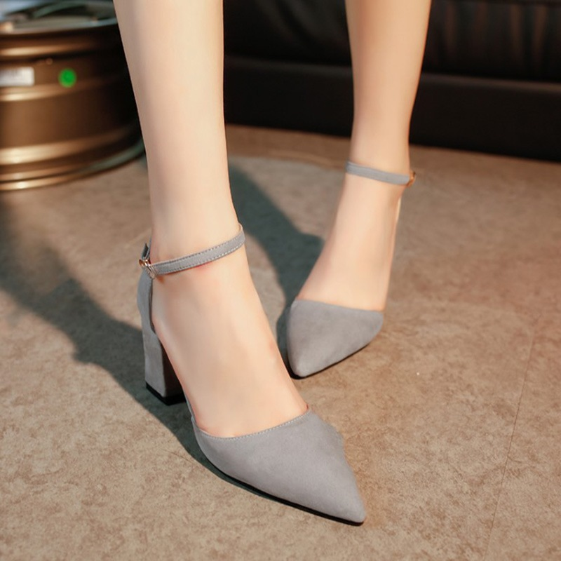 Ericdress Suede Pointed Toe Plain Block Heel Pumps