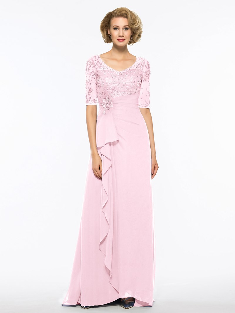 Ericdress Half Sleeve Embroidery Beaded Mother of The Bride Dress