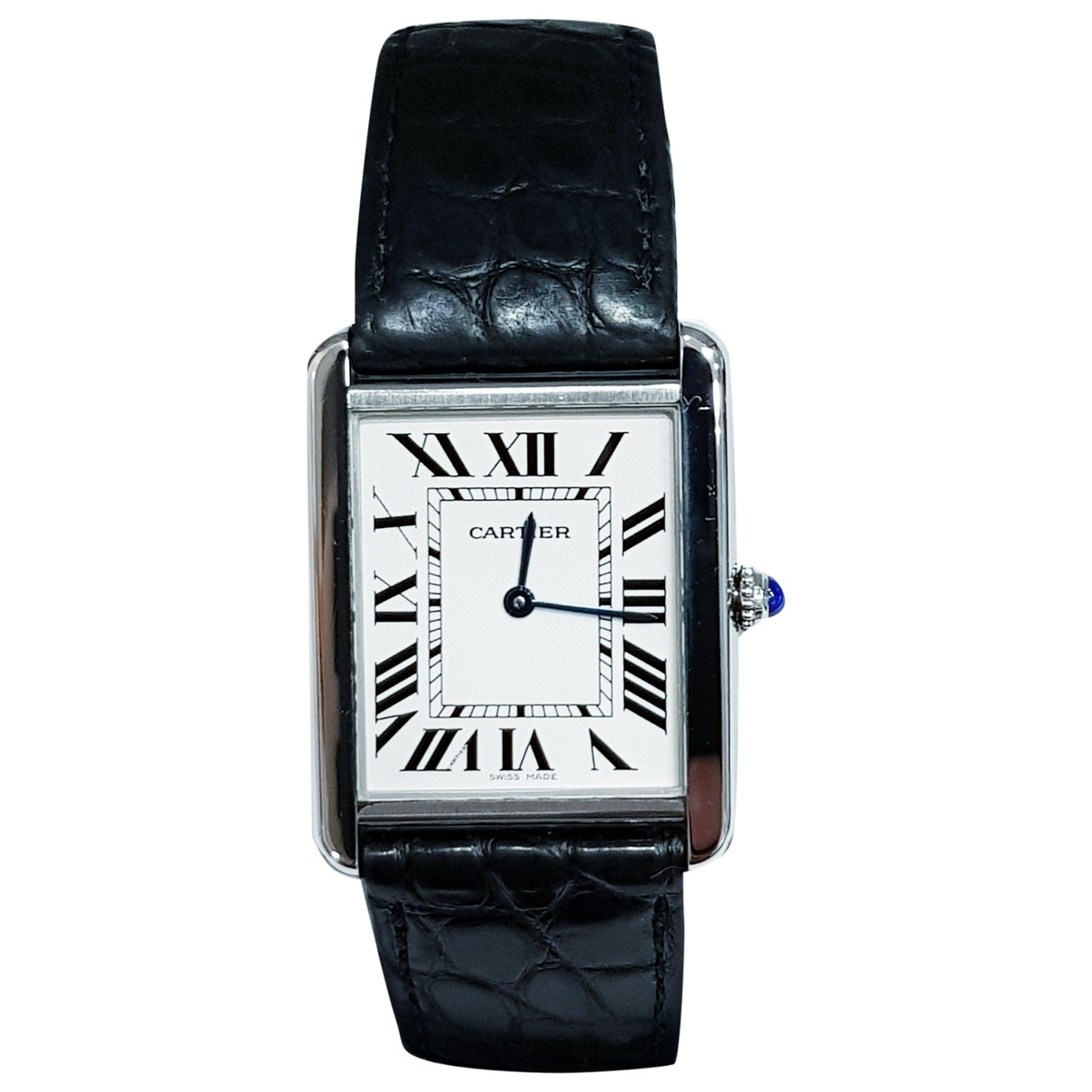 Cartier Tank Solo Uhr in  Weiss Stahl