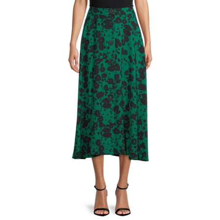 Worthington Womens High Rise Midi A-Line Skirt, Medium , Green