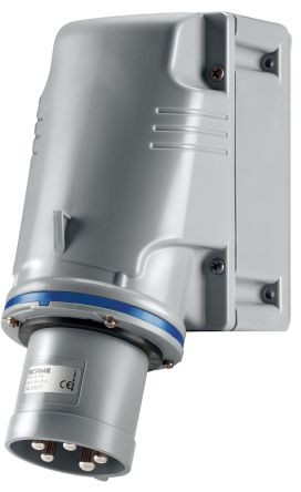 RS PRO IP44 Blue Wall Mount 2P+E Industrial Power Plug, Rated At 63.0A, 230.0 V