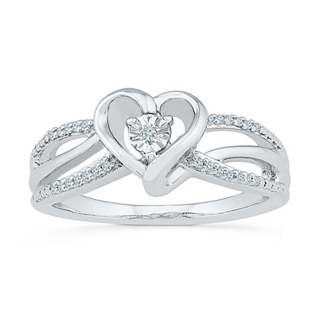 Promise My Love Womens Diamond Accent Genuine White Diamond Sterling Silver Heart Promise Ring, 9 , No Color Family