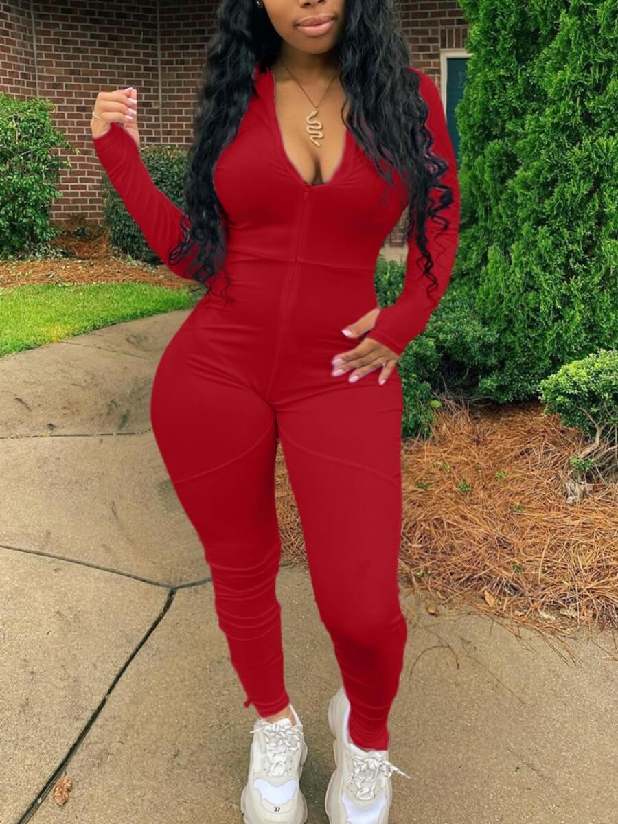 LW Lovely Sportswear V Neck Basic Skinny Red One-piece Jumpsuit