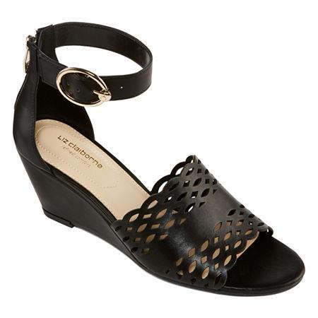 Liz Claiborne Womens Ivan Wedge Sandals, 9 1/2 Medium, Black
