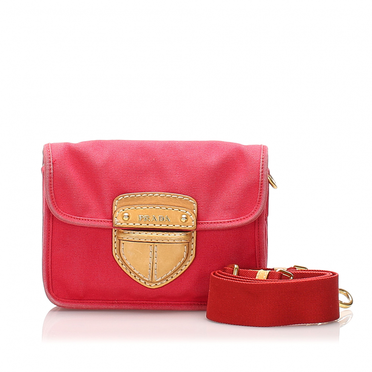 Prada \N Handtasche in  Rot Leinen