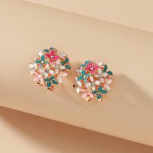 Rhinestone Flower Decor Earrings