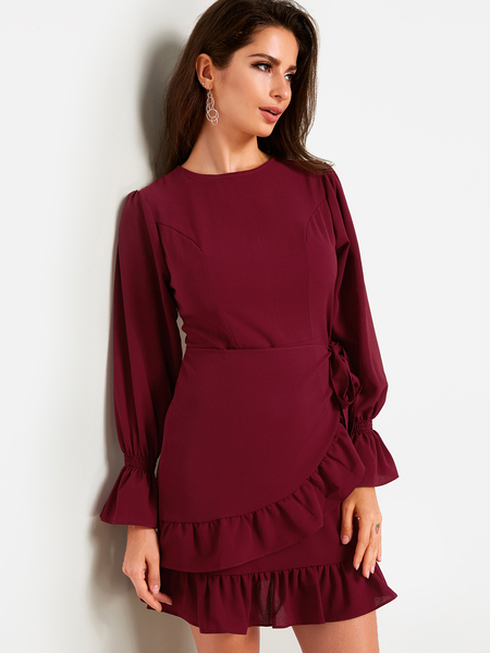 Yoins Burgundy Bell Sleeves Self Tie Design Flounced Hem Dresses