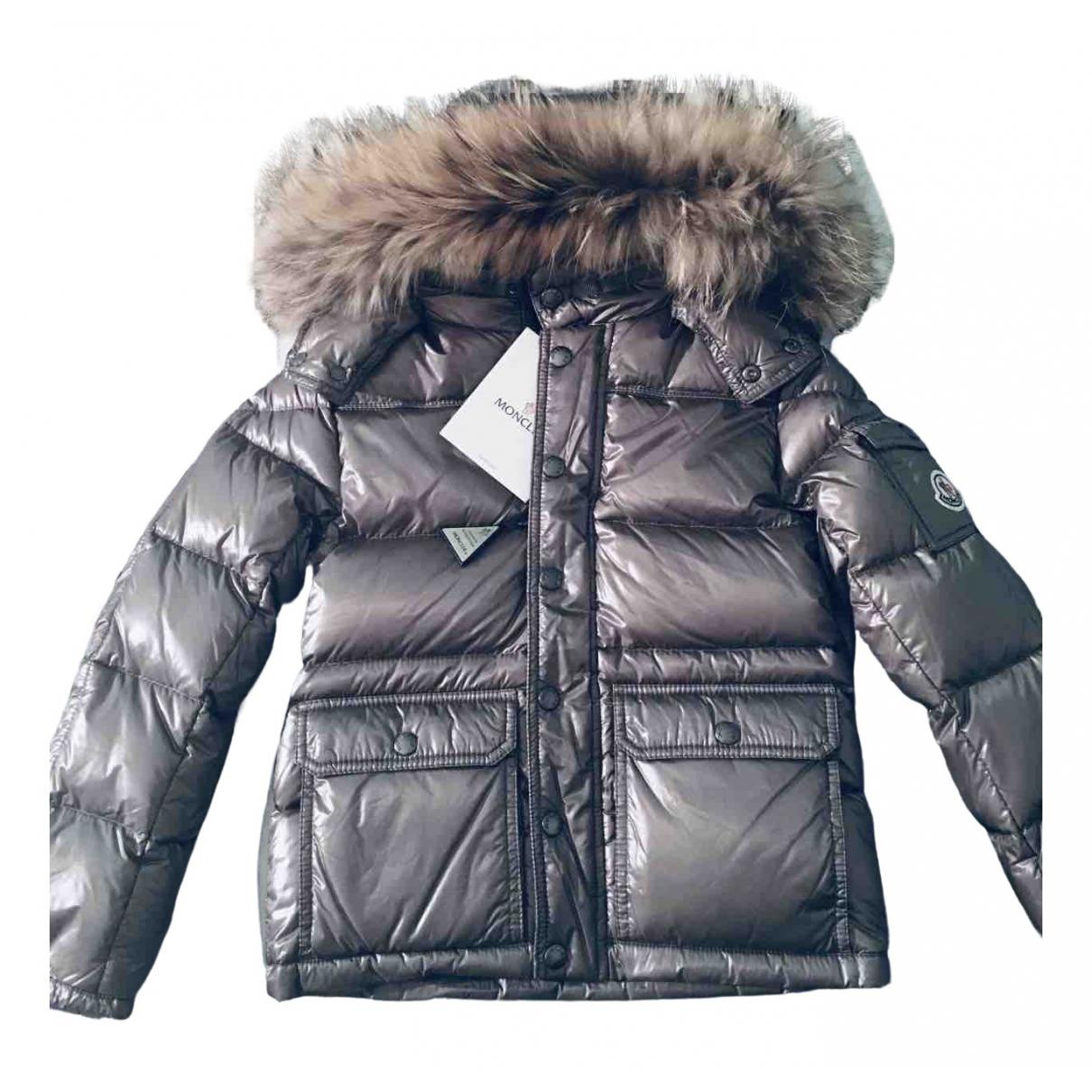 Moncler Fur Hood Jacke, Maentel in  Grau Synthetik