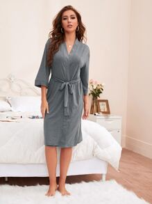 Self Tie Solid Lounge Robe