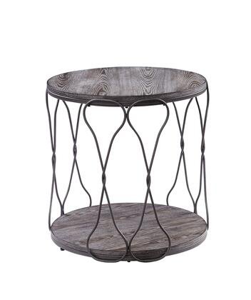 BM188343 Round Industrial Style Metal and Solid Wood End Table with Open Bottom Shelf  Gray and