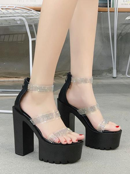 Milanoo Sexy Platform Chunky Sandals PU Ankle Strap PU Women\'s Sexy Sandals