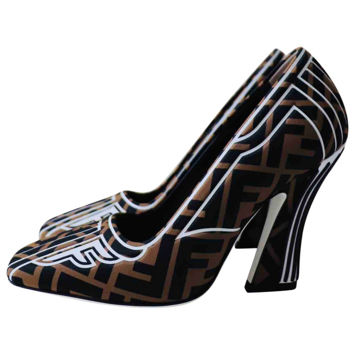 Fendi FFreedom Brown Cloth Heels for Women 35 EU