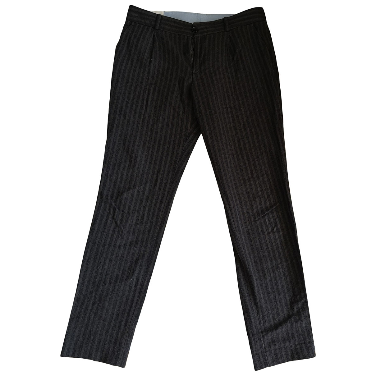 Leon & Harper \N Anthracite Cotton Trousers for Women 40 FR