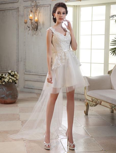 Milanoo Vestido de novia de tul con cuello en V y cola desmontable