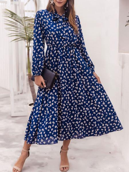 Milanoo Las mujeres Maxi vestidos de manga larga azul del lunar cuello de la joya anudada largo vestido de poliester