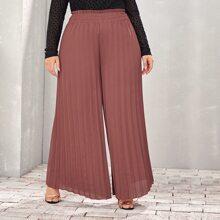Pantalones anchos fruncido de cintura con volante - grande