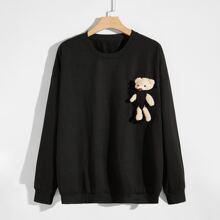 Men 3D Bear Detail Drop Shoulder Sweatshirt
