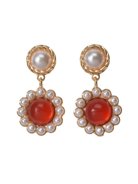 Milanoo Flower Dangle Earrings Pearl Drop Earrings Women Jewelry