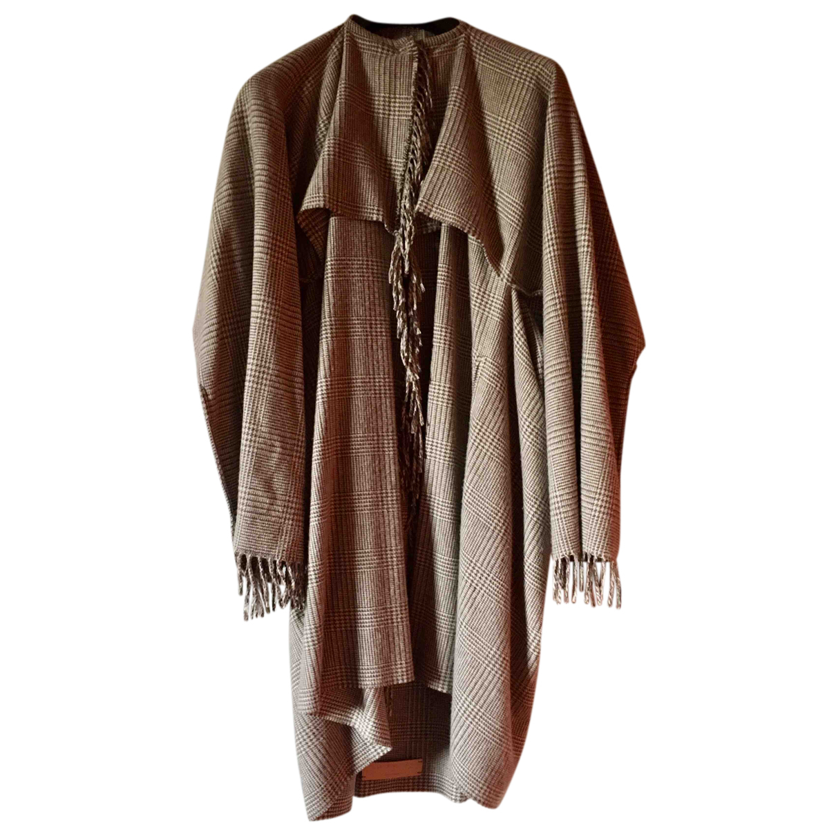 Non Signé / Unsigned Oversize Beige Wool coat for Women One Size International