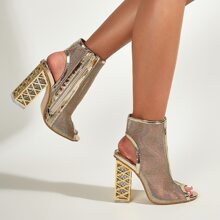 Peep Toe Metallic Ultra High Heel Pumps