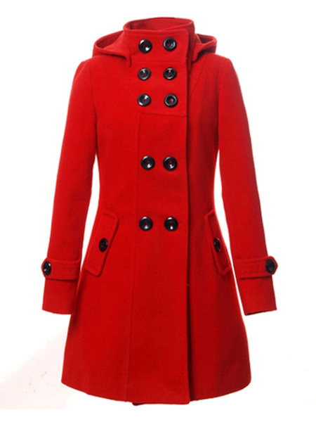 Milanoo Women Trench Coat Red Peacoat Hooded Long Sleeve Double Breasted Button Woolen Coat