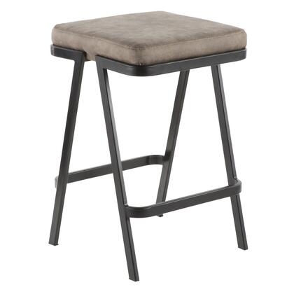 Seven Collection CS-SVENBK+STN Counter Height Stool with Fabric Upholstery  Industrial Style  Black Metal Frame and Backless Design in Stone