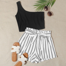 Plus One Shoulder Top & Striped Belted Paper Bag Waist Shorts