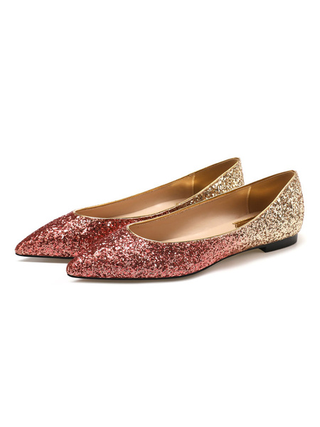 Milanoo Women\'s Blond Ballet Flats Sequined Cloth Pointed Toe Golden Daily Casual Shoes
