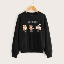 Maedchen Pullover mit Squirrel Muster