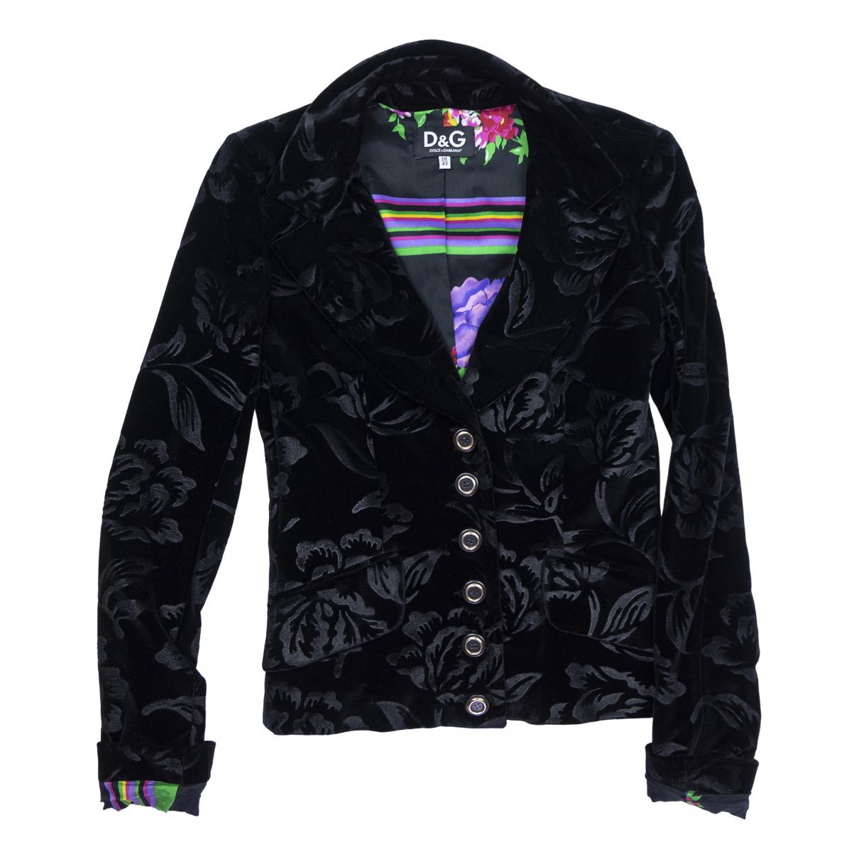 Dolce & Gabbana - Veste   pour femme en suede - noir