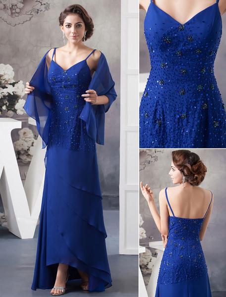 Milanoo Blue Mother Of The Bride Dress With Wrap Straps Ruffles Floor-Length Sheath Chiffon Evening Dress