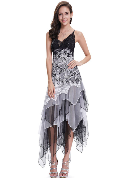 Milanoo Grey Prom Dresses 2020 Short Floral Cocktail Dress V Neck Sequins Beading Lace Flowers Spaghetti Strap Tulle Tiered Irregular Party Dress