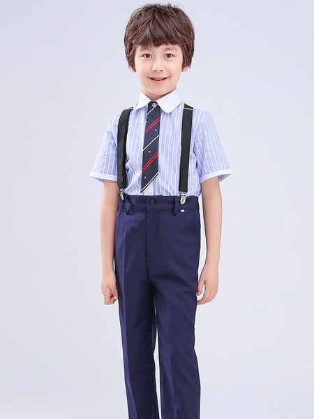 Milanoo Trajes de portador de anillo de algodon azul manga corta corbata pantalones camisa trajes de fiesta formal 3pcs