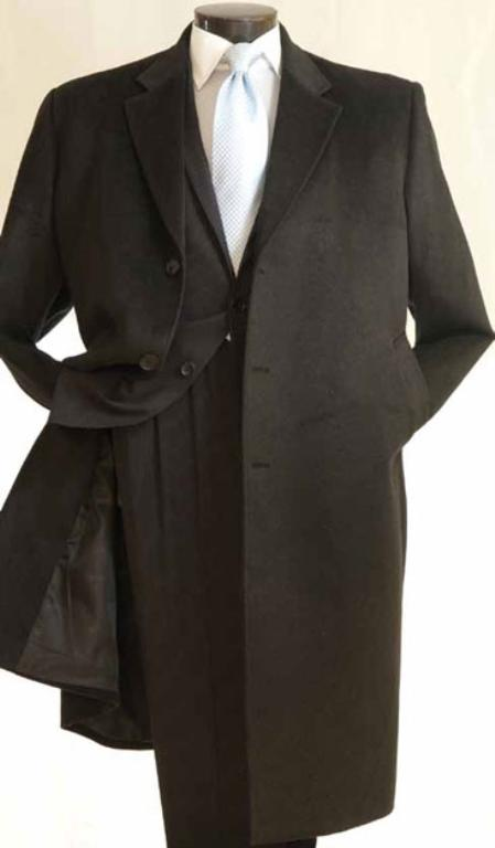 Mens 4102 Length Car Coat in Cashmere Feel Charcoal