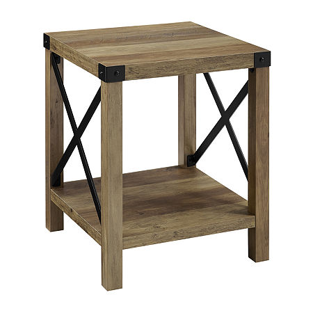 Farmhouse Rustic Wood Square Side Table, One Size , Brown