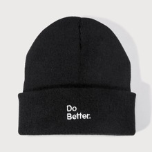 Letter Embroidery Beanie