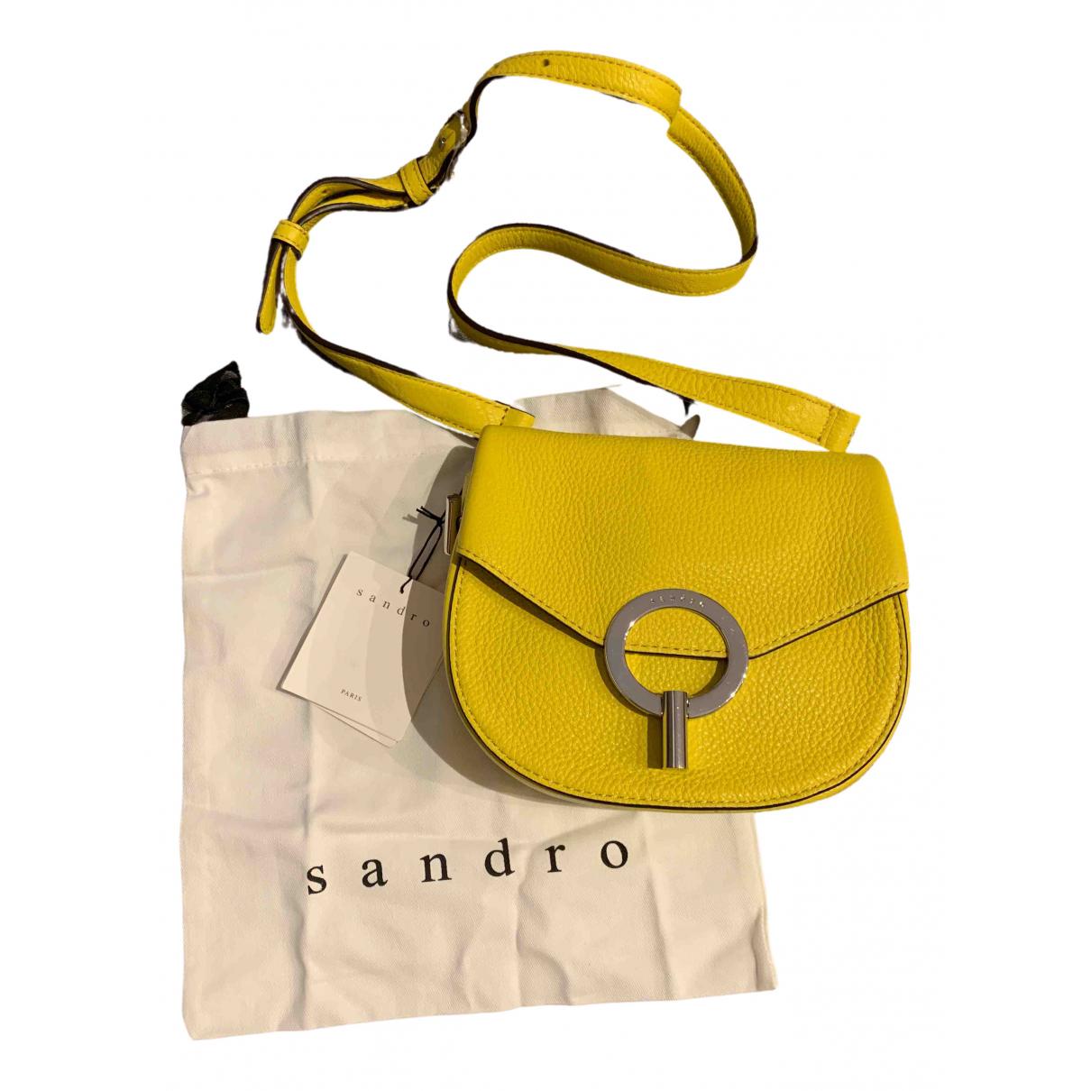 Sandro Yza Clutch in  Gelb Leder