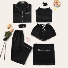 Conjunto de pijama de tirante con bordado de letra con blusa 7 piezas