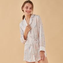 PJM Button Front Patch Pocket Belted Floral Nightdress