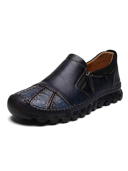 Milanoo Mens Brown Loafers Shoes Slip-On Artwork Round Toe PU Leather Low-Tops Shoes