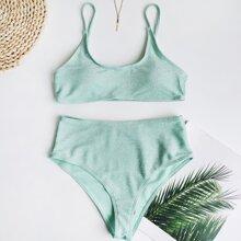 Bañador bikini de cintura alta brillante