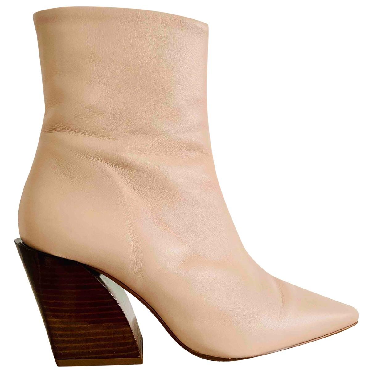 Topshop - Boots   pour femme en cuir - rose