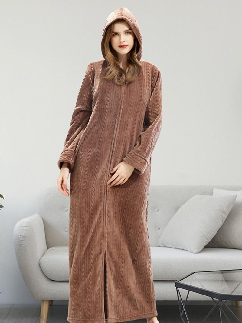 Ericdress Plain Zipper Single Long Women's Nightgown