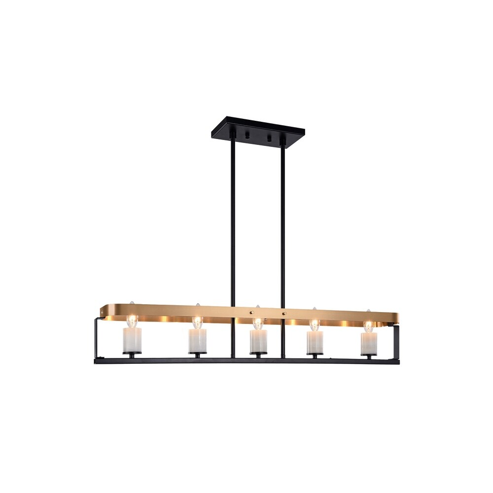 Matteo  C82915BKAG Five Light Chelier Crle Black Aged Gold Brass - One Size (One Size - Clear)