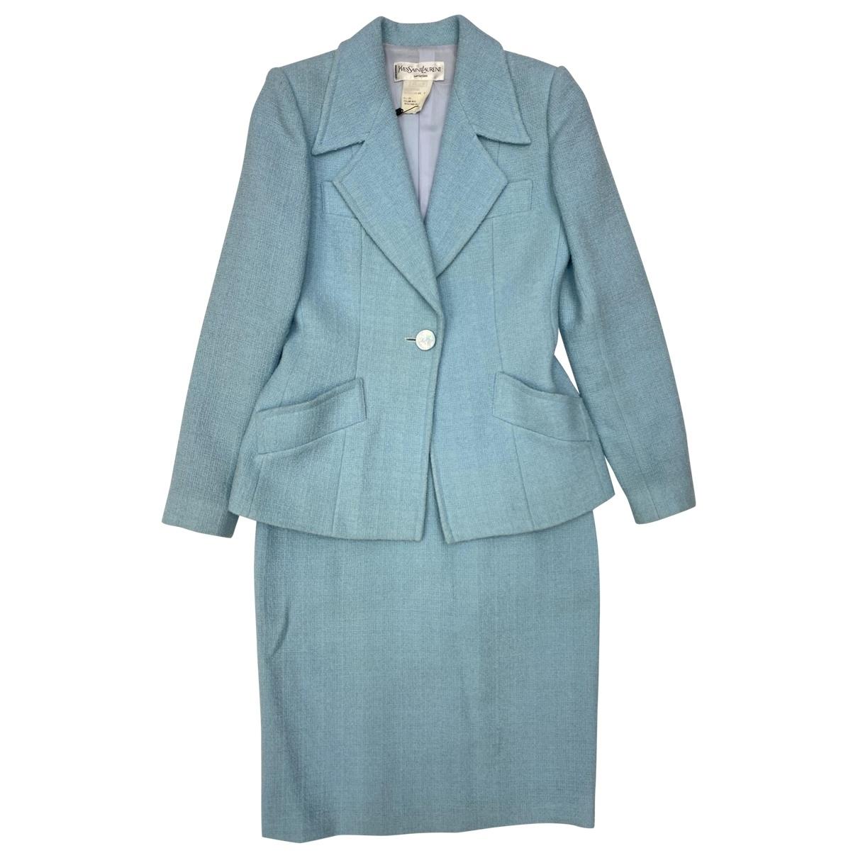 Yves Saint Laurent \N Kleid in  Blau Wolle