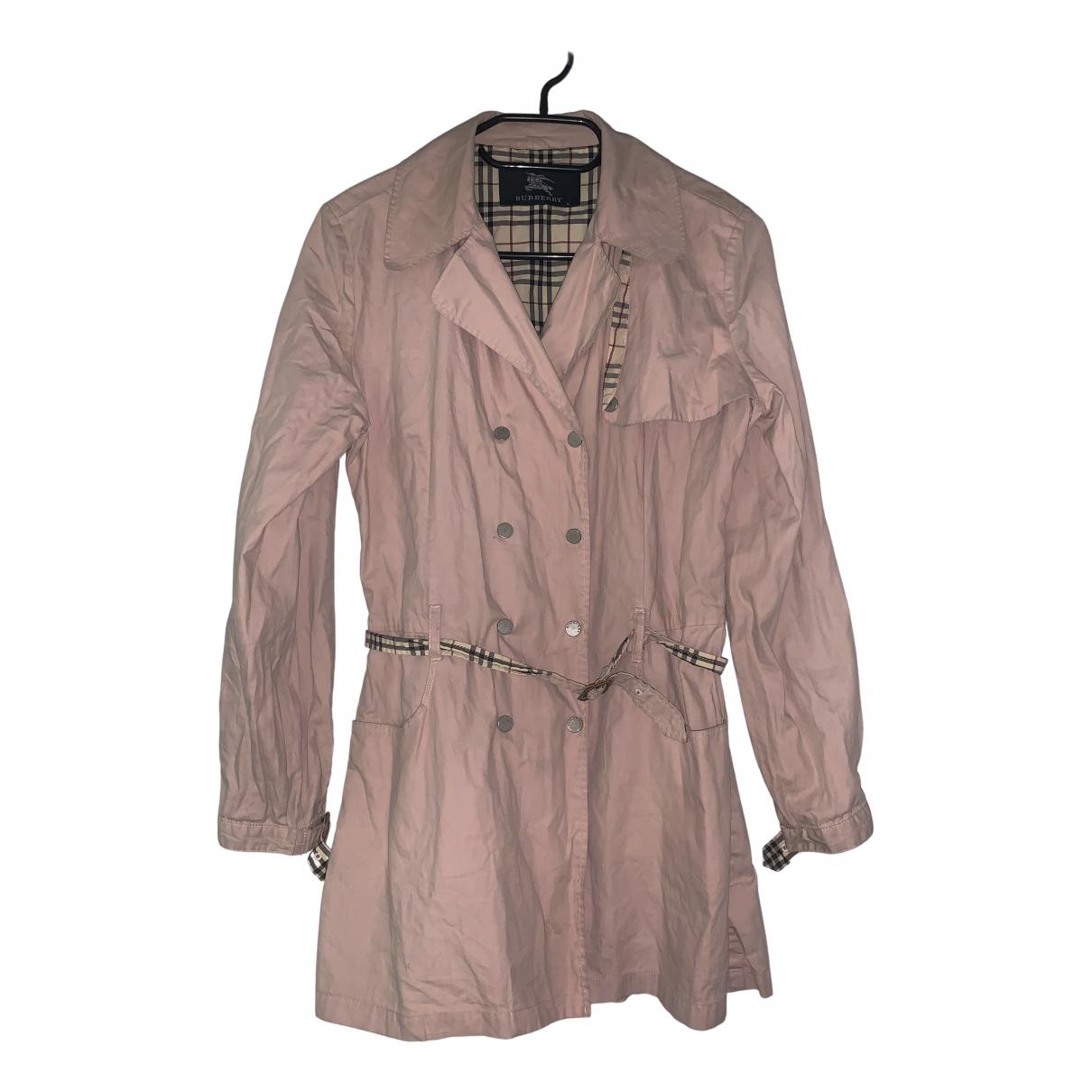 Burberry - Trench   pour femme en coton - rose
